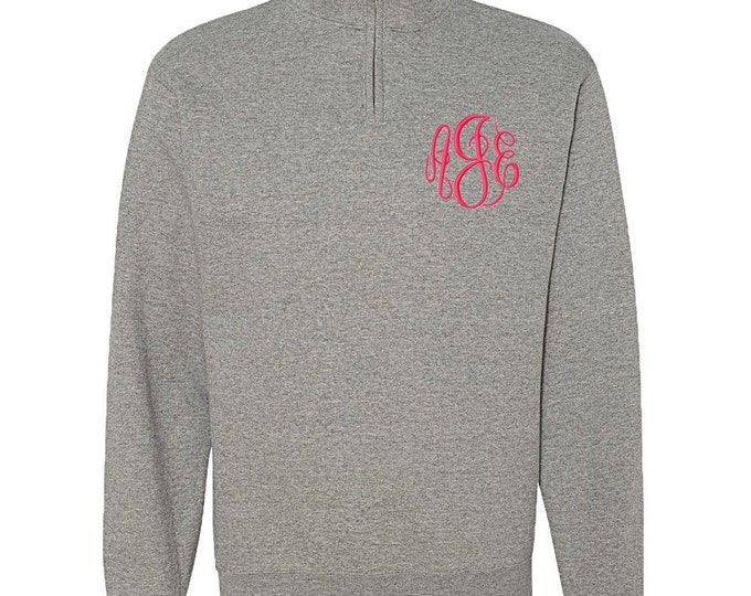Monogrammed Quarter Zip Sweatshirt | Personalized Sweatshirt | Unisex Grey Sweatshirt | Womens Gray Sweatshirt | Grey Quarter Zip Sweatshirt