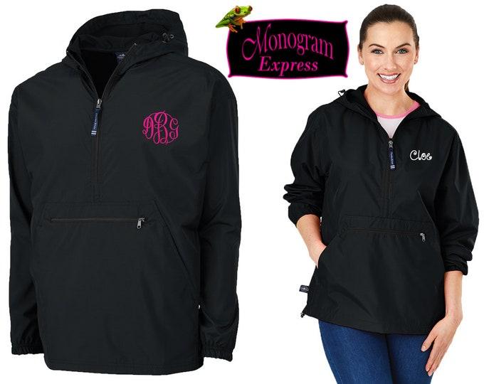 Monogrammed Quarter Zip Pullover Jacket | Personalized Adult Unisex Raincoat | Lightweight Hooded Quarter Zip Windbreaker | Black Pack-N-Go