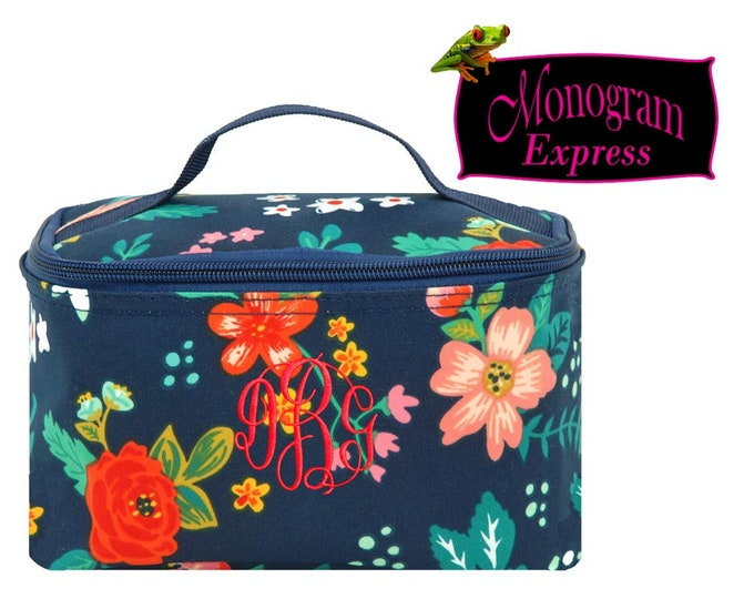 Personalized Cosmetic Bag   Monogrammed Makeup Bag   Toiletry Travel Bag   Travel Cosmetic Case   Makeup Case   Poppies Small Cosmetic Bag