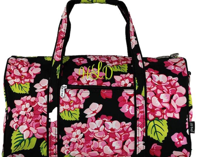 Personalized Duffle   Monogram Duffel   Travel Bag   Bridesmaid Gift   Women Duffle   Airplane Bag   Overnight Bag   Carolina Hydrangea 17.5