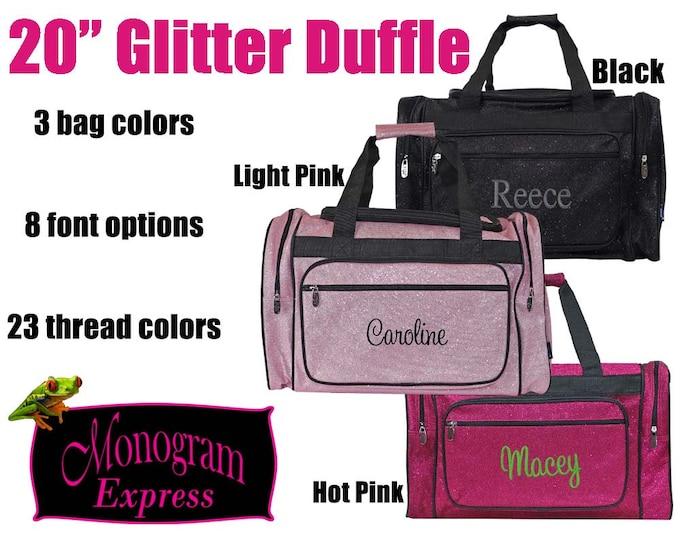 "Monogrammed Duffle | Personalized Duffle Bag | Girls Pink Duffel Bag | Cheer Bag | Dance Bag | Pageant Bag | Black Glitter Bag | Glitter 20"""
