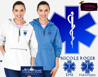 Personalized Paramedic Jacket   Monogrammed Emergency Services Wind Breaker   Advanced Emergency Medical Technician White Pack-N-Go