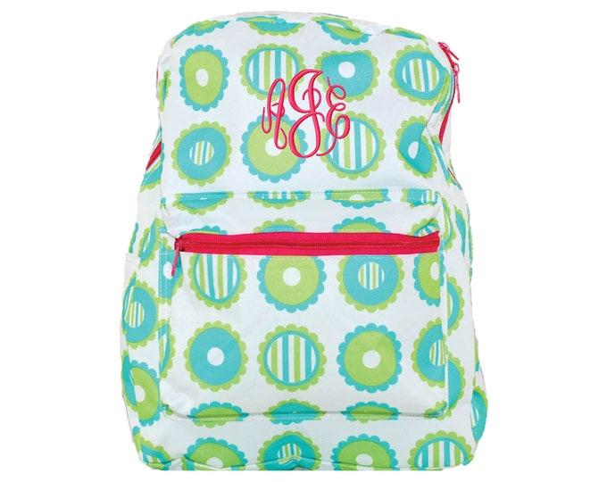 Monogram Girls Backpack | Personalized School Bookbag | Monogrammed Retro Backpack | Kids Backpack | Green and Aqua Circles Hot Pink Trim