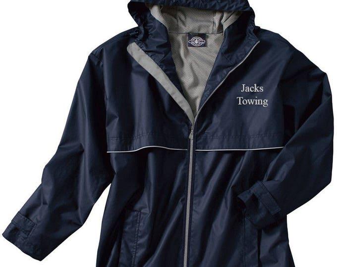 Monogrammed Mens Rain Jacket | Personalized Mens Rain Coat | Hooded Mesh Lined Full Zip Reflective Trim | Rain Slicker | Navy Grey Trim