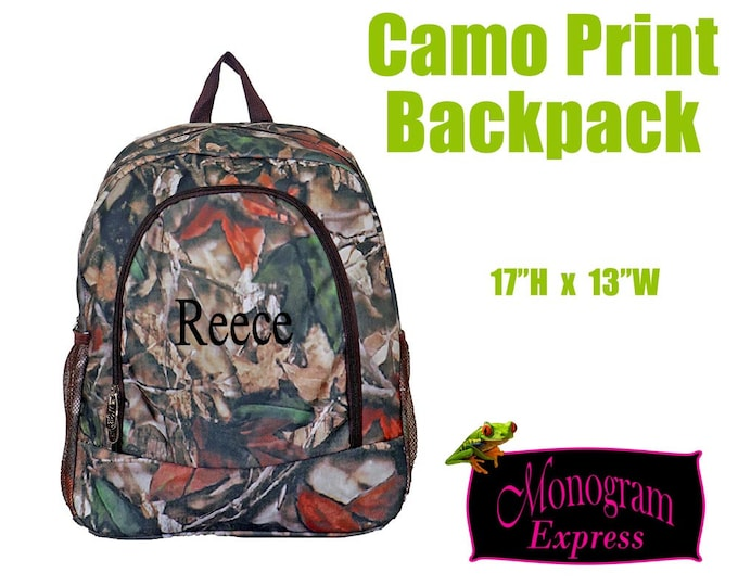 Brown Camo Print Backpack | Personalized School Bag | Boys Book Bag | Embroidered Backpack | Brown Trim Camo Backpack | 17 Inch Bag