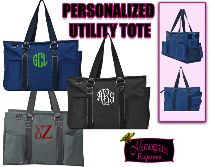 Personalized Carry All Bag | Monogrammed Utility Bag | Tote Bag | Travel Tote | Multi-pocket Tote | Personalized Gift | Medium Solid Caddy