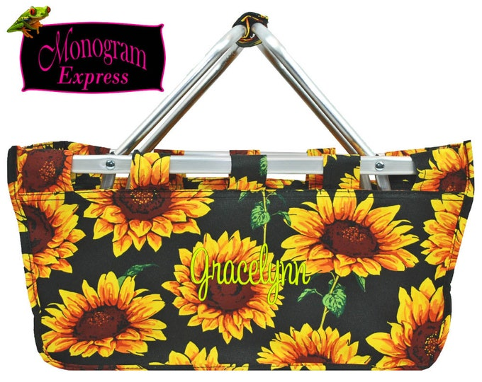 Personalized Sunflower Large Market Tote | Monogrammed Picnic Basket | Collapsible Aluminum Frame Market Basket | Black & Yellow Sunflower