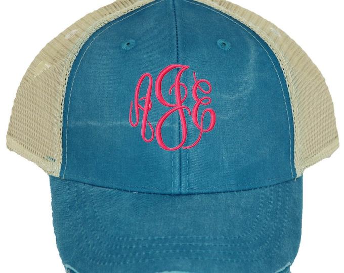 Personalized Trucker Hat | Womens Baseball Hat | Monogrammed Baseball Hat  | Bridesmaid Trucker Hat | Trucker Cap | Teal Beige Mesh Back Hat