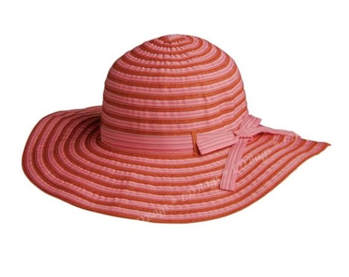 Personalized Floppy Hat | Monogrammed Beach Floppy Hat | Protective Floppy Hat | Ribbon Hat | Shade Hat | Beach Hat | Orange Floppy Hat