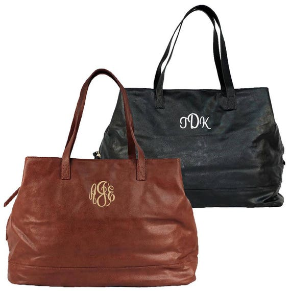 ad0fcafde0dd Monogrammed Vegan Leather Tote Large Personalized Tote