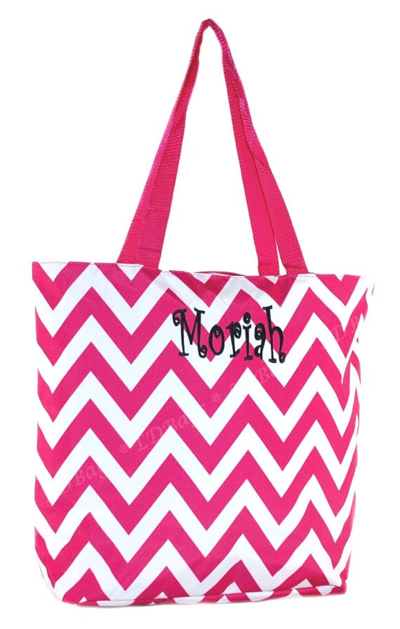 Front Pink Personalized White /& Purple Damask Zippered Everyday Tote