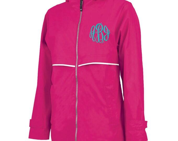 Monogrammed Womens Rain Jacket | Personalized Ladies Rain Coat | Hooded Mesh Lined Full Zip Reflective Trim | Rain Slicker | Hot Pink Grey
