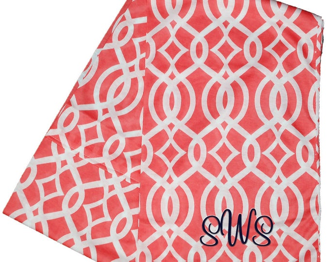 Personalized Infinity Scarf | Monogrammed Infinity Scarf | Embroidered Custom Gift | Continuous Loop Scarf | Coral Vine Infinity Scarf