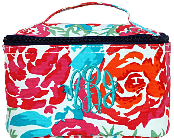 Personalized Cosmetic Case   Monogrammed Cosmetic Bag   Personalized Make Up Bag   Wedding Party Gift   Makeup Organizer   Floral Meadows