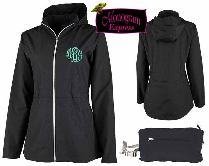 Monogrammed Womens Lightweight Jacket | Hooded Windbreaker | Raincoat to Fanny Pack | Personalized Rain Jacket | Womens Full Zip Pack-N-Go