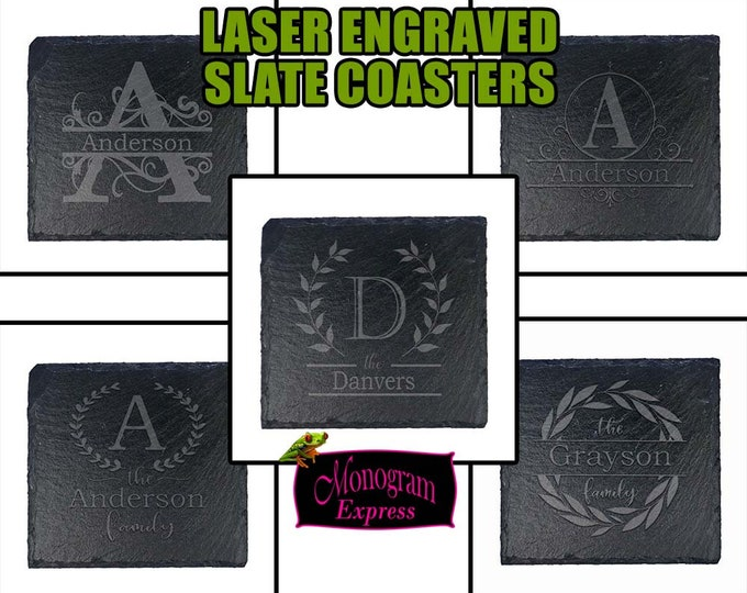 Personalized Engraved Slate Coasters | Slate Coaster | Fathers Day | Best Man Gift | House Warming Gift | Personalized Coasters | Set of 4