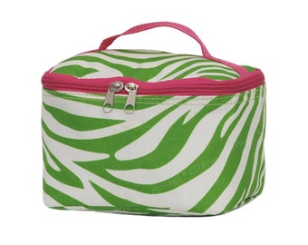 Personalized Travel Cosmetic Bag | Monogrammed Cosmetic Bag | Girls Cosmetic Travel Bag | Lime Green Zebra Cosmetic Case with Hot Pink Trim