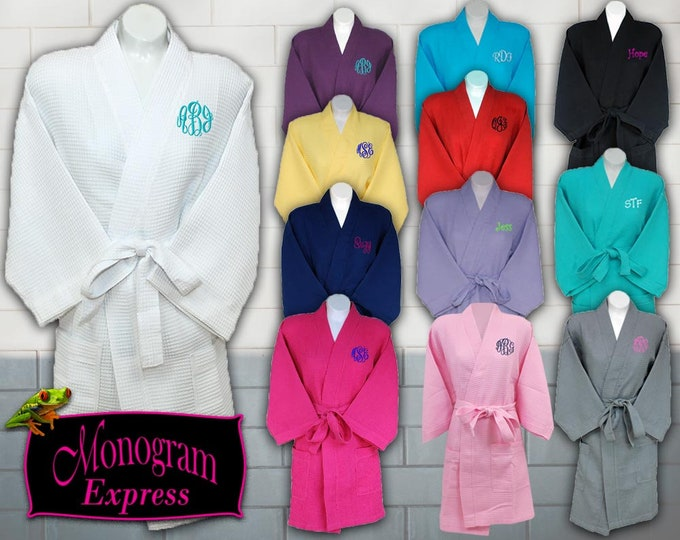 """Personalized Waffle Weave Robe 