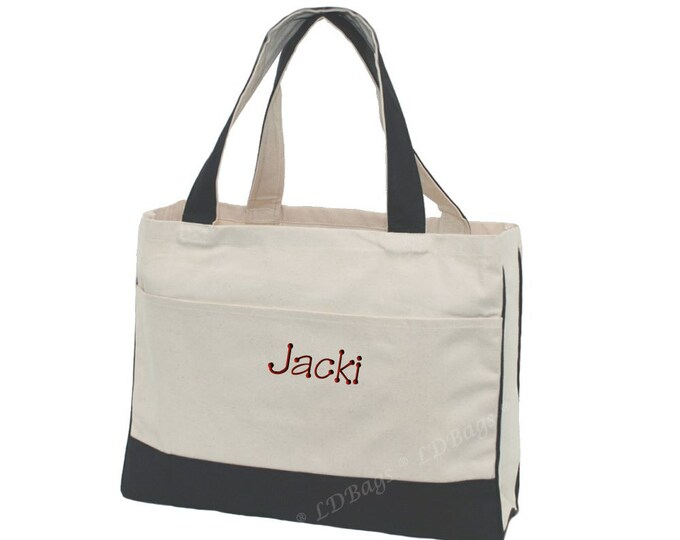 Monogrammed Black Canvas Tote Bags | Personalized Bridesmaids Gifts | Beach Bags | Tote Bags | Preppy Bags | Boat Bag | Black Canvas Tote