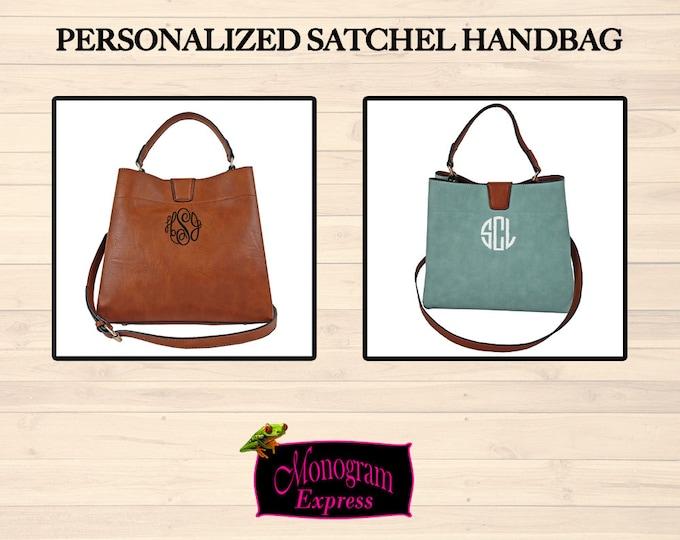 Personalized Satchel Bag | Crossbody Purse | Women's Monogramed Satchel | Vegan Leather Handbag | Camel Brown Purse | Custom Teal Bag