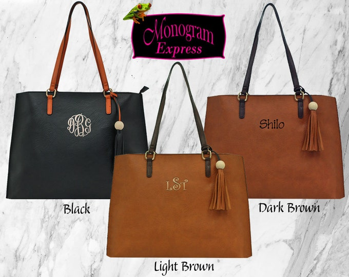 Personalized Vegan Faux Leather Bag | Monogrammed Shoulder Tote | Embroidered Woman's Pocketbook | Large Faux Leather Purse with Tassel