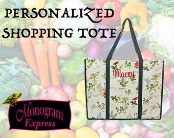 Personalized Reusable Shopping Bag | Herbs Pattern tote | Eco Friendly Tote Bag | Grocery Bag | Green Trim Tote | Storage | Herbs Large Tote