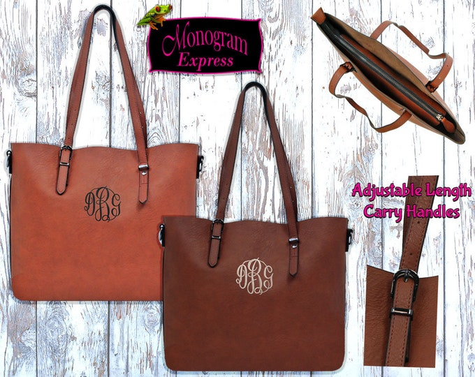 Personalized Faux Leather Tote Bag   Monogrammed Vegan Shoulder Bag   Embroidered Faux Leather Purse   Faux Leather with Adjustable Handles