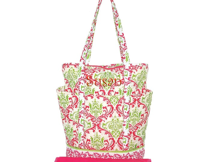 Monogrammed Diaper Bag | Personalized Diaper Bag | Baby Bag | Changing Bag | Infants | Girls | Damask | Green and Hot Pink Damask Diaper Bag