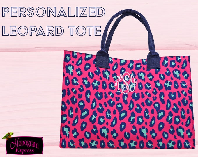 Leopard Print Tote Bag | Monogrammed Tote | Personalized Bags | Colorful Everyday Bag | Customized Momma Tote | Hot Pink Leopard Tote
