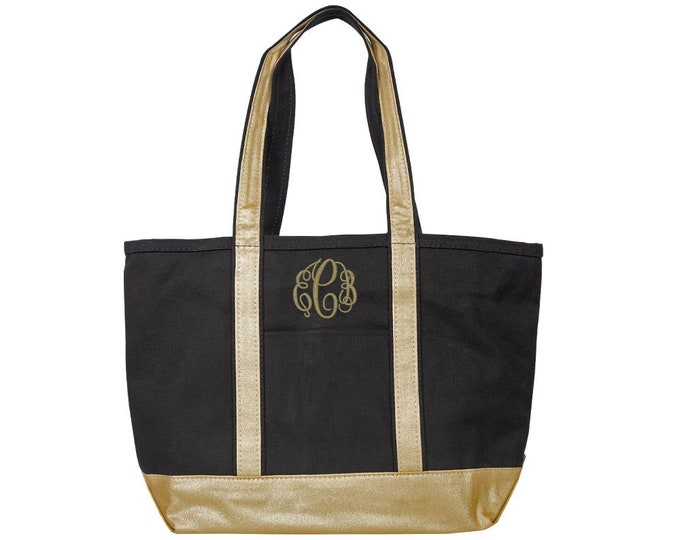 Monogrammed Tote Bag | Classy Tote Bag | Beach Tote | Travel Tote | Pool Tote | Personalized Tote Bag | Shimmering Black and Gold Tote Bag