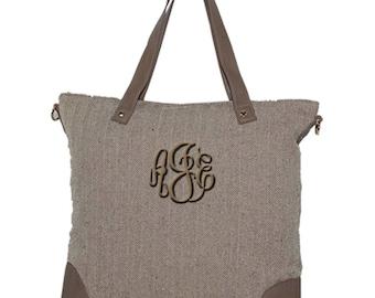 Monogrammed Tote Bag   Personalized Tote Bag   Herringbone Shoulder Purse   Personalized Gift   Bridesmaid Gift   Herringbone Shoulder Tote
