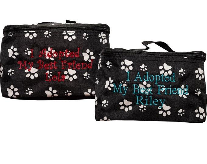 Personalized Zipper Pouch   Monogrammed Pet Treat Bag   Custom Pet Treat Bag   Cosmetic Bag   Travel Toiletry Bag   Black Paw Print Cosmetic