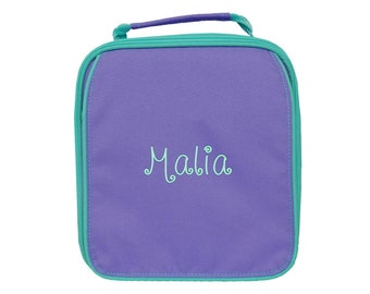 Monogrammed Lunch Bag   Personalized Lunch Bag   Insulated School Lunch Bag   Kid Lunch Bag   Girls Lunch Bag   Purple Mint Trim Lunch Bag