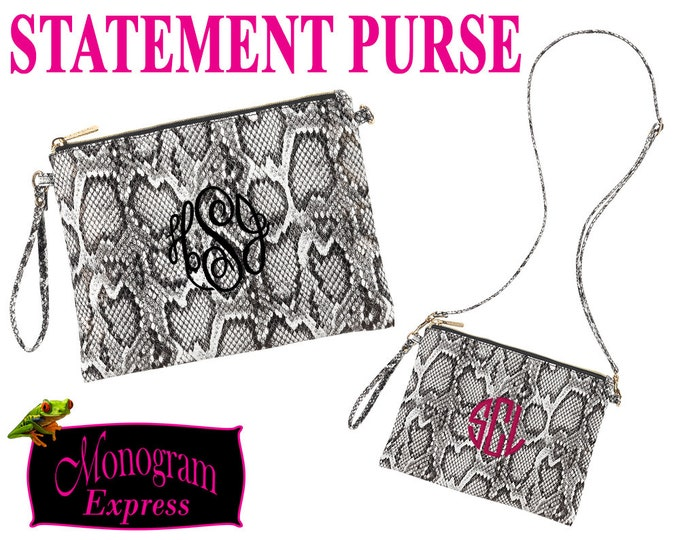 Snakeskin Print Purse | Hayley Purse | Personalized Crossbody | Gift for Her | Personalized Birthday Gift | Black and White Purse | Wristlet