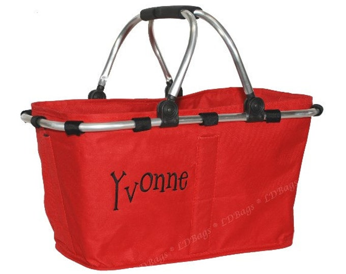 Personalized Market Tote | Monogrammed Market Tote | Red Market Tote | Gift Market Tote | Christmas Market Tote | Carry All | Car Caddy Red