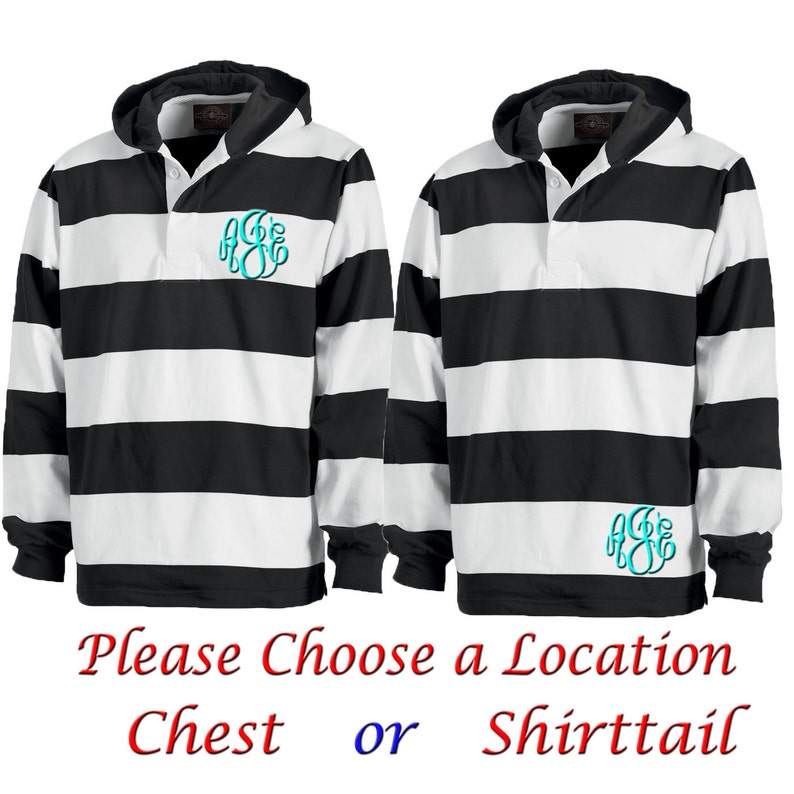 e7f39ec871 Black and White Striped Long Sleeve Hooded Rugby Shirt | Etsy