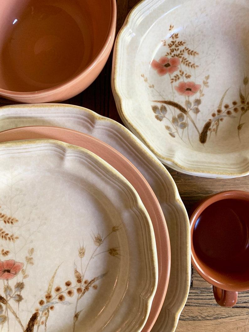 Vintage Mikasa Bowls Set of 6 Country Charm Strawflowers Stoneware
