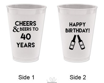 Cheers and Beers to 40 Years! Happy Birthday Frost Flex Cups, 10 count