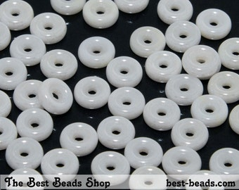 50pcs Lustered White Wheel Beads 6mm Czech Glass Pressed Beads