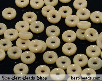 50pcs Lustered Beige Wheel Beads 6mm Czech Glass Pressed Beads