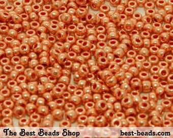 25g (1000pcs) Metallic Orange Rocaille 8/0 (2.9mm) Preciosa Czech Glass Seed Beads