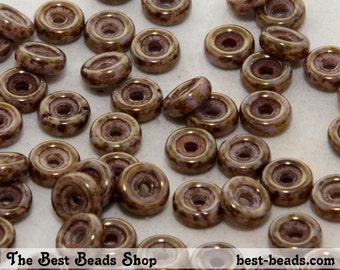 50pcs Violet-Brown Senegal Wheel Beads 6mm Czech Glass Pressed Beads