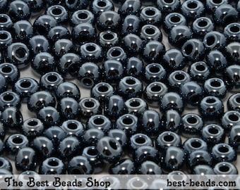 25g (300pcs) Jet Black Rocaille 5/0 (4.5mm) Preciosa Czech Glass Seed Beads