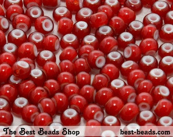 25g (300pcs) White Lined Red Rocaille 5/0 (4.5mm) Preciosa Czech Glass Seed Beads