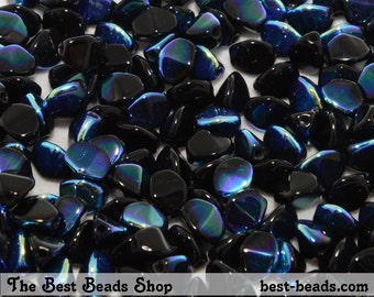 50pcs Black with AB Pinch Beads 5mm Czech Glass Pressed Beads