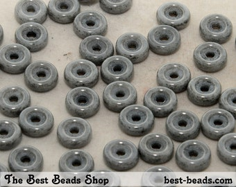 50pcs Lustered Gray Wheel Beads 6mm Czech Glass Pressed Beads