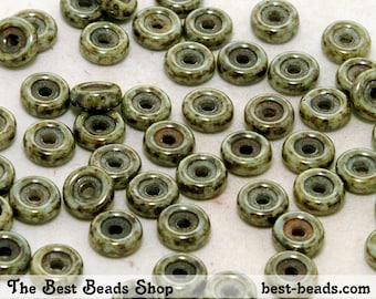 50pcs Grey Travertine Wheel Beads 6mm Czech Glass Pressed Beads