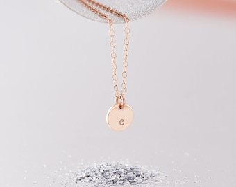 Solid Rose Gold Initial Necklace / Single Initial Necklace / 9ct Rose Gold Initial Necklace / Personalised Initial Necklace