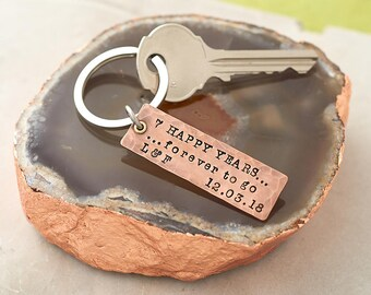 7 Year Anniversary Gift/ Copper Anniversary Keyring / 7th Wedding Anniversary Gift / Copper Anniversary Key Fob / Personalised Key Ring
