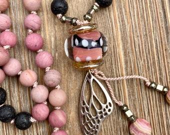 ZenHappy Monarch Mala Bead Necklace - Matte Pink Rhodonite, Lava Stone, Sterling Monarch Butterfly Wing and Handmade Lampwork; Boho Necklace